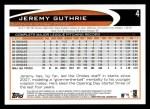 2012 Topps #4  Jeremy Guthrie  Back Thumbnail
