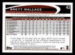 2012 Topps #43  Brett Wallace  Back Thumbnail