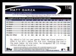 2012 Topps #114  Matt Garza  Back Thumbnail