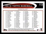 2012 Topps #113   -  Craig Kimbrel Record Breaker Back Thumbnail