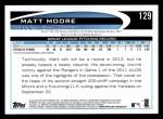 2012 Topps #129  Matt Moore  Back Thumbnail