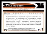 2012 Topps #218  Kyle Hudson  Back Thumbnail