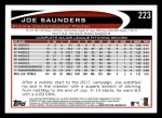 2012 Topps #223  Joe Saunders  Back Thumbnail