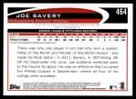 2012 Topps #464  Joe Savery  Back Thumbnail