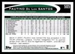 2012 Topps #505  Fautino De Los Santos  Back Thumbnail