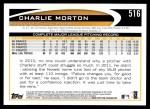 2012 Topps #516  Charlie Morton  Back Thumbnail