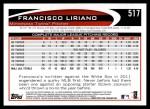 2012 Topps #517  Francisco Liriano  Back Thumbnail