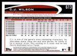 2012 Topps #613  C.J. Wilson  Back Thumbnail