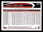 2012 Topps #617  Jimmy Rollins  Back Thumbnail