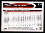 2012 Topps #634  Jose Contreras  Back Thumbnail