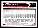 2012 Topps #643  Chris Young  Back Thumbnail