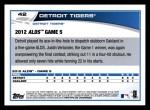 2013 Topps #42  Detroit Tigers   Back Thumbnail