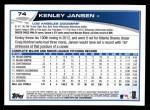2013 Topps #74  Kenley Jansen   Back Thumbnail