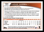 2013 Topps #164  Lucas Harrell   Back Thumbnail
