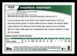 2013 Topps #433  Andrew Werner  Back Thumbnail