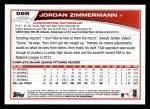 2013 Topps #588  Jordan Zimmermann  Back Thumbnail