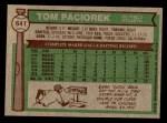 1976 Topps #641  Tom Paciorek  Back Thumbnail