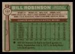 1976 Topps #137  Bill Robinson  Back Thumbnail