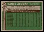 1976 Topps #629  Sandy Alomar  Back Thumbnail