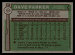 1976 Topps #185  Dave Parker  Back Thumbnail