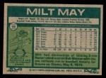 1977 Topps #98  Milt May  Back Thumbnail