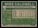 1977 Topps #452  Mike Caldwell  Back Thumbnail