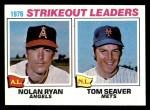 1977 Topps #6   -  Nolan Ryan / Tom Seaver Strikeout Leaders   Front Thumbnail