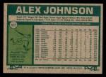 1977 Topps #637  Alex Johnson  Back Thumbnail