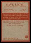 1965 Philadelphia #134  Dave Lloyd   Back Thumbnail