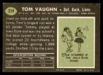 1969 Topps #214  Tom Vaughn  Back Thumbnail