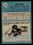 1964 Philadelphia #185  Sam Huff     Back Thumbnail