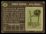 1969 Topps #205  Charlie Gogolak  Back Thumbnail