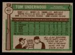 1976 Topps #407  Tom Underwood  Back Thumbnail