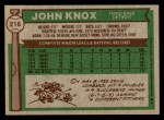 1976 Topps #218  John Knox  Back Thumbnail