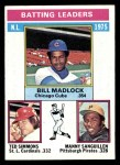 1976 Topps #191   -  Bill Madlock / Ted Simmons / Manny Sanguillen NL Batting Leaders Front Thumbnail