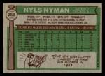 1976 Topps #258  Nyls Nyman  Back Thumbnail
