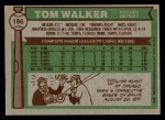 1976 Topps #186  Tom Walker  Back Thumbnail