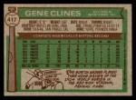 1976 Topps #417  Gene Clines  Back Thumbnail