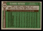 1976 Topps #488  Claude Osteen  Back Thumbnail