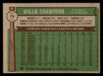 1976 Topps #76  Willie Crawford  Back Thumbnail