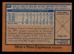 1978 Topps #197  Nino Espinosa  Back Thumbnail