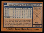 1978 Topps #71  Terry Humphrey  Back Thumbnail