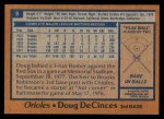 1978 Topps #9  Doug DeCinces  Back Thumbnail