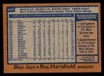 1978 Topps #444  Roy Hartsfield  Back Thumbnail