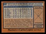 1978 Topps #166  Carlos Lopez  Back Thumbnail