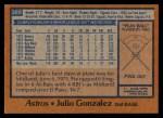 1978 Topps #389  Julio Gonzalez  Back Thumbnail