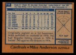 1978 Topps #714  Mike Anderson  Back Thumbnail