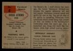 1954 Bowman #4  Doug Atkins  Back Thumbnail