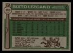 1976 Topps #353  Sixto Lezcano  Back Thumbnail