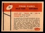 1960 Fleer #11  Fran Curci  Back Thumbnail
